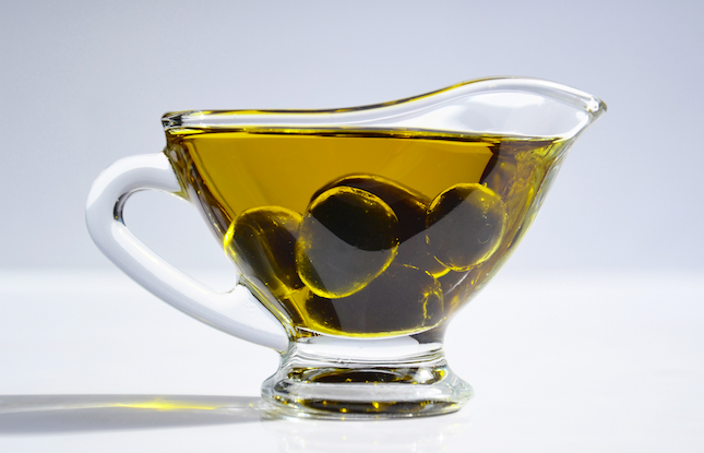 Cooking oil in glass server